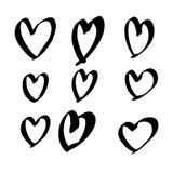 Hand drawn vector hearts set royalty free illustration