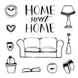 Hand drawn vector home interior doodles: couch Royalty Free Stock Images