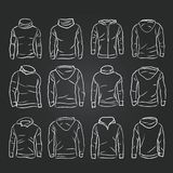 Hand-drawn vector hoody template mock up and showcase for designer. Front and back view Royalty Free Stock Photos
