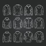 Hand-drawn vector hoody template mock up and showcase for designer. Front and back view Stock Photo