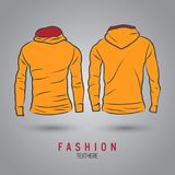 Hand-drawn vector hoody template mock up and showcase for designer. Front and back view Royalty Free Stock Photography