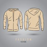 Hand-drawn vector hoody template mock up and showcase for designer. Front and back view Stock Photos