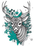 Hand drawn vector horned deer with  high details ornament. Hand drawn vector horned deer with high details ornament, flowers and herbs on white background. Black Royalty Free Stock Image