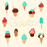 Hand drawn vector ice cream vintage set Stock Photo