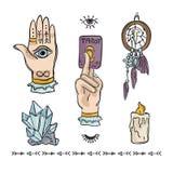Spiritual Hand Drawn Vector Icon Illustration Set royalty free illustration