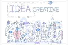 Hand drawn vector icons related to creative idea and startup. Books, rocket, brain, speech bubbles, light bulb, flasks