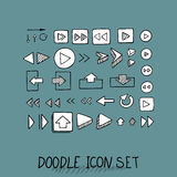 Hand drawn vector icons set website development doodles elements. Royalty Free Stock Image