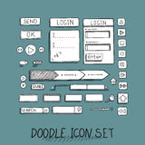 Hand drawn vector icons set website development doodles elements. Royalty Free Stock Photography