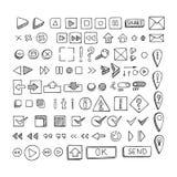 Hand drawn vector icons set website development doodles elements. Royalty Free Stock Photo