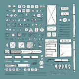 Hand drawn vector icons set website development doodles elements. Royalty Free Stock Photos