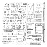 Hand drawn vector icons set website development doodles elements. Stock Image
