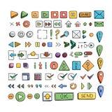 Hand drawn vector icons set website development doodles elements. Stock Photo