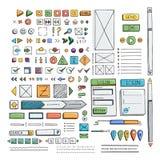Hand drawn vector icons set website development doodles elements. Stock Photography