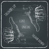 A hand-drawn vector icons of a thumbs up and a thu Stock Photography
