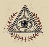Hand drawn vector illustration - All seeing eye pyramid symbol. Royalty Free Stock Photography