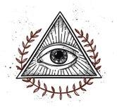 Hand drawn vector illustration - All seeing eye pyramid symbol. Freemason and spiritual. Vintage royalty free illustration