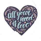 Hand drawn vector illustration.  All your need is love. Stock Photos