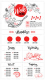 Hand drawn vector illustration - Asian food. Wok menu with calli. Graphic phrases. Perfect for restaurant brochure, cafe flyer, delivery menu. Ready-to-use Royalty Free Stock Photos