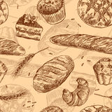 Hand drawn vector illustration bakery. Seamless pattern with baking elements. Sketch style stock illustration