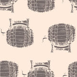 Hand drawn vector illustration, barrels seamless pattern Stock Photo