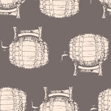 Hand drawn vector illustration, barrels seamless pattern on gray background Stock Photography