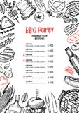 Hand drawn vector illustration. BBQ menu. Barbeque design elements in sketch style. Fast food. Perfect for delivery. Flyers, prints, packing, leaflets royalty free illustration