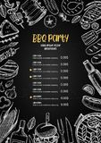 Hand drawn vector illustration. BBQ menu. Barbeque design elements in sketch style. Fast food. Perfect for delivery. Flyers, prints, packing, leaflets vector illustration