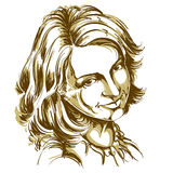 Hand-drawn vector illustration of beautiful happy and pleased wo Royalty Free Stock Images