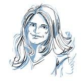 Hand-drawn vector illustration of beautiful romantic woman Stock Photography