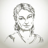 Hand-drawn vector illustration of beautiful skeptic woman, I do Royalty Free Stock Photography