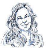 Hand-drawn vector illustration of beautiful smiling woman. Monoc Royalty Free Stock Photo