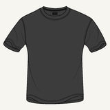 Hand drawn vector illustration of blank black t-shirt on white background. Perfect for placing your own prints and artwork. Stock Photography