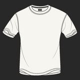 Hand drawn vector illustration of blank white t-shirt on black background.  Royalty Free Stock Photos