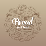 Hand drawn vector illustration with bread Stock Photography