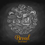 Hand drawn vector illustration with bread. Sketch Royalty Free Stock Images