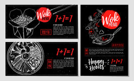 Hand drawn vector illustration. Brochures with Asian food. Wok m. Enu and bibimbap. Perfect for restaurant brochure, cafe flyer, delivery menu. Ready-to-use Royalty Free Stock Photography