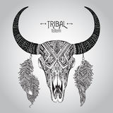 Hand drawn Vector illustration of bull skull with feathers. Stock Image