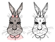 Hand-drawn vector illustration. Bunny girl with bow. Vintage Royalty Free Stock Photography