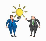 Hand-drawn vector businessman worker has a good idea and boss showing thumbs-up. Hand-drawn vector illustration businessman worker holding glowing light-bulb royalty free illustration