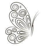 Hand Drawn vector illustration Butterfly  on white background. Sketch for tattoo. Black contour for coloring Royalty Free Stock Photo