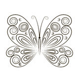 Hand Drawn vector illustration Butterfly  on white background. Sketch for tattoo. Black contour for coloring Stock Photo