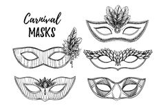 Hand drawn vector illustration - Carnival masks with feathers, d Stock Image