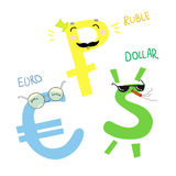 Hand drawn vector illustration. Cartoon money. Dollar, EURO and. Ruble. Cute character Stock Photos