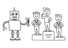 Hand drawn vector illustration, cartoon robot awards winners Royalty Free Stock Image
