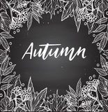 Hand drawn vector illustration. Chalky background with Fall leav Stock Image