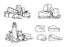 Hand drawn vector illustration. Cheese and milk set mozzarella, Royalty Free Stock Photography