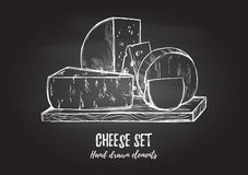 Hand drawn vector illustration. Cheese set mozzarella, blue che Stock Image