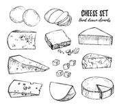 Hand drawn vector illustration. Cheese set mozzarella, blue che Royalty Free Stock Photography