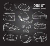 Hand drawn vector illustration. Cheese set mozzarella, blue che Stock Photo
