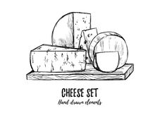 Hand drawn vector illustration. Cheese set mozzarella, blue che Stock Photography